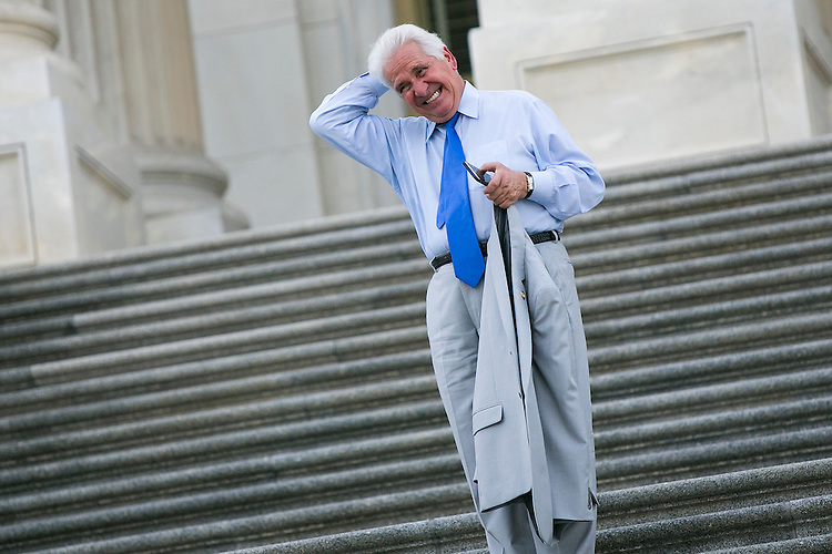 UNITED STATES - JULY 29: Rep. Jim Costa, D-Calif., combs his hair as he walks down the House steps at the Capitol following the final votes before the August recess on Wednesday, July 29, 2015. The House of Representatives will not meet again until September 8, 2015. (Photo By Al Drago/CQ Roll Call)