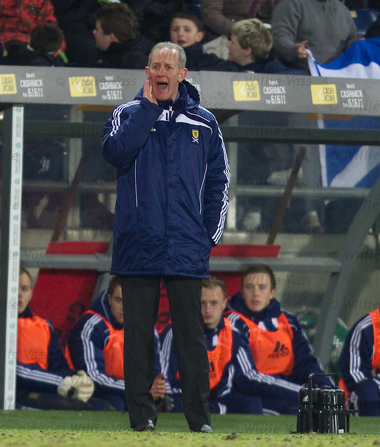 Billy Stark yells from the Scotland dugout