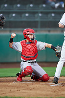 Vancouver Canadians catcher Philip Clarke (31) during a Northwest League game against the Tri-City Dust Devils at Gesa Stadium on August 21, 2019 in Pasco, Washington. Vancouver defeated Tri-City 1-0. (Zachary Lucy/Four Seam Images)