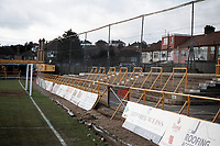 Terracing at Barnet FC Football Ground, Underhill Stadium, Barnet, London, pictured on 10th February 1996
