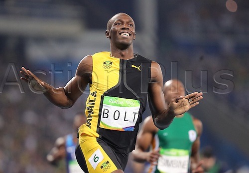 14.08.2016. Rio de Janeiro, Brazil. Usain Bolt of Jamaica celebrates after winning the Men's 100m Final of the Athletic, Track and Field events during the Rio 2016 Olympic Games at Olympic Stadium in Rio de Janeiro, Brazil, 14 August 2016.