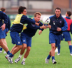 Rino Gattuso and Stephen Wright training at Partick cricket ground