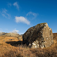 Large boulder, Black Cuillin hills, Glenbrittle, Isle of Skye, Scotland