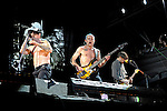 Anthony Kiedis, Flea, and Josh Klinghoffer of the Red Hot Chili Peppers performs during the Hangout Music Fest in Gulf Shores, Alabama on May 19, 2012.