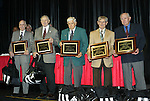 17 January 2004: (l to r) John Souza, Frank Borghi, Harry Keough, Gino Pariani, and Walter Bahr. The five surviving members of the US team that defeated England at the 1950 World Cup in Brazil were named honorary All-Americans at the Charlotte Convention Center in Charlotte, NC as part of the annual National Soccer Coaches Association of America convention..