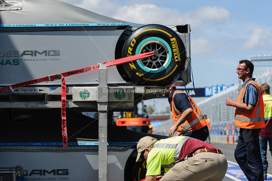MELBOURNE, 11 March - The Mercedes GP Petronas F1 Team cars are unloaded from the transporter ahead of the 2012 Formula One Australian Grand Prix at the Albert Park Circuit in Melbourne, Australia. (Photo Sydney Low / syd-low.com)