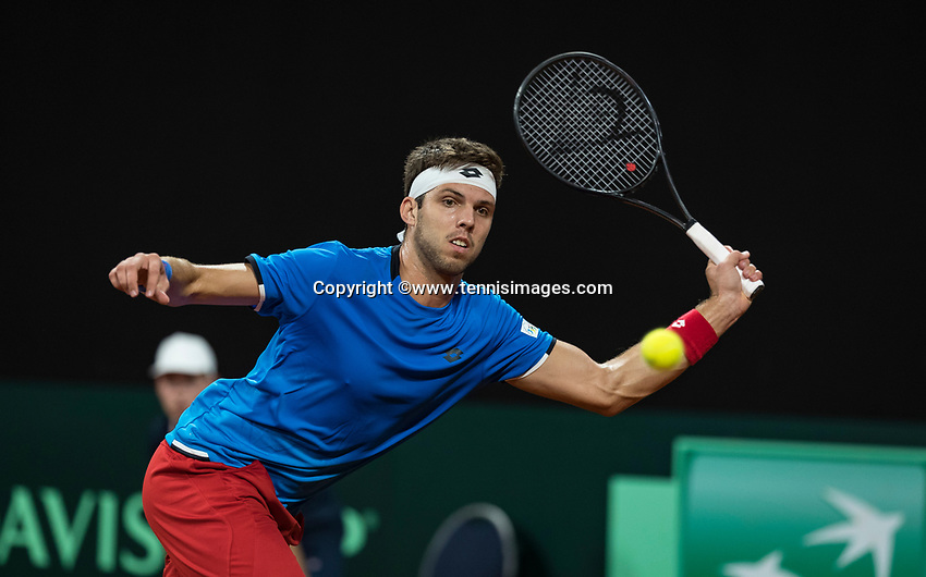 The Hague, The Netherlands, September 15, 2017,  Sportcampus , Davis Cup Netherlands - Chech Republic, First rubber: Jiri Vesely (CZE) <br /> Photo: Tennisimages/Henk Koster