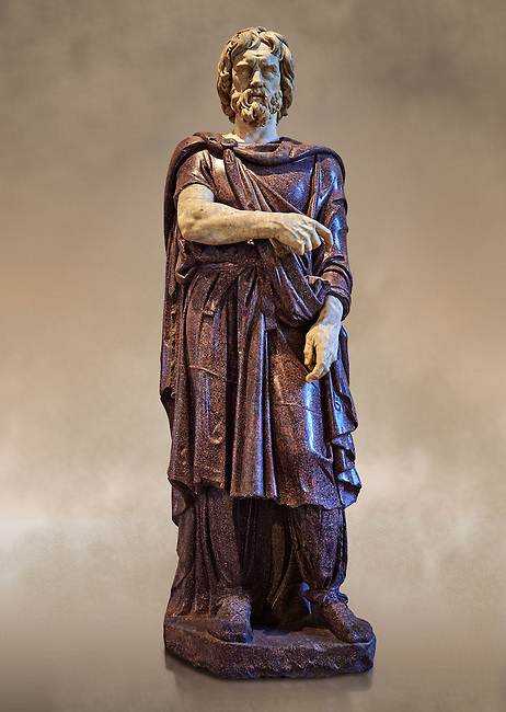 Statue of a Captive Barbarian - a 2nd century Ad Roman sculpture made in Porphyry and white marble from Rome, Italy. Restored by Pietro Benini brother of Bernin. The head and hands do not belong to the statue. The head is wearing a hat Phyrigian hat and recalls the same style as the famous Farnese Prisoners statues who were defeated Dacians from the Forum of Trajan (98-117 AD). The statue was from the facade of the Villa Borghese. The Borghese Collection Inv No. MR 331 or Ma 1385, Louvre Museum, Paris.