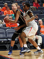 Duke guard/forward Haley Peters (33) is pressured by during an NCAA college basketball game in Charlottesville, Va. Duke defeated Virginia 62-41...