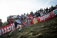 crawling up &quot;Le Mur&quot; de Francorchamps (50% gradient!) <br /> <br /> Superprestige Francorchamps 2014