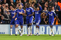 Willian of Chelsea (2nd right) celebrates scoring his team's second goal to make it 2-0 against FC Porto during the UEFA Champions League group match between Chelsea and FC Porto at Stamford Bridge, London, England on 9 December 2015. Photo by David Horn / PRiME