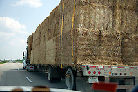 Bails of hay being transported by truck on Freeway 94. Alexandria Minnesota MN USA