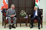 Palestinian President Mahmoud Abbas, meets with crown Prince of Britain Prince Charles, in the West Bank city of Bethlehem, on January 24, 2020. Photo by Thaer Ganaim