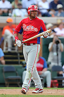 Philadelphia Phillies Freddy Galvis #71 during a spring training game against the Baltimore Orioles at Bright House Field in Clearwater, Florida;  March 6, 2011.  Photo By Mike Janes/Four Seam Images