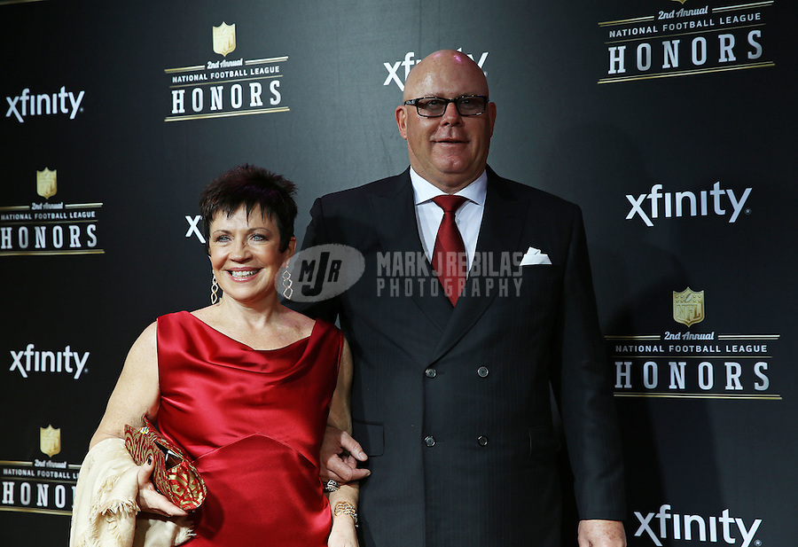 Feb. 2, 2013; New Orleans, LA, USA: Arizona Cardinals head coach Bruce Arians (right) with wife Christine Arians on the red carpet prior to the Super Bowl XLVII NFL Honors award show at Mahalia Jackson Theater. Mandatory Credit: Mark J. Rebilas-USA TODAY Sports