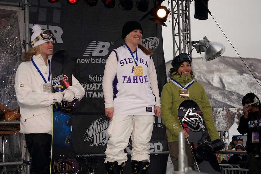 Women's Snowboarder X Gold Medalist Joanie Anderson, Silver Medalist Lindsey Jacobellis, and Bronze Medalist Maelle Ricker at the 2007 ESPN Winter X Games 11 in Aspen, Colorado