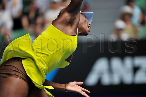 27 January 2010, 2010 Australian Open Tennis, day 10, Melbourne, Australia. Venus William (USA) Vs Na Li (CHN). Venus Williams in action. Photo by Peter Blakeman/Actionplus.