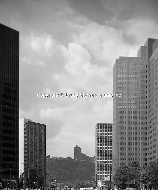 Pittsburgh PA: View of Mt Washington and the new Trimont Condominiums from Gateway Center - 1985.  The Trimont Condominiums were designed by Astorino & Associated and remain the place to live in Pittsburgh.