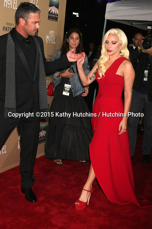 """LOS ANGELES - OCT 3:  Taylor Kinney, Lady Gaga at the """"American Horror Story: Hotel"""" Premiere Screening at the Regal 14 Theaters on October 3, 2015 in Los Angeles, CA"""