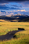 Flint Creek Mountain Range and grass meadows near Phillipsburg, Montana