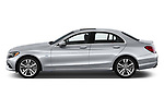 Car driver side profile view of a 2018 Mercedes Benz C-Class Sedan C350e Plug-in Hybrid 4 Door Sedan