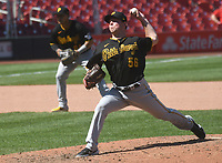25th July 2020, St Louis, MO, USA;  Pittsburgh Pirates pitcher Kyle Krick (56) pitches in relief during a Major League Baseball game between the Pittsburgh Pirates and the St. Louis Cardinals