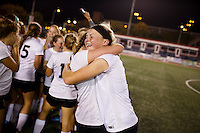 Penn's Hallie Hedman, right, celebrates a 2-0 win against Brebeuf Jesuit in the IHSAA Class 2A Girls Soccer State Championship Game on Saturday, Oct. 29, 2016, at Carroll Stadium in Indianapolis. Special to the Tribune/JAMES BROSHER