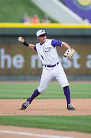 Winston-Salem Dash third baseman Brady Conlan (9) makes a throw to first base against the Buies Creek Astros at BB&T Ballpark on April 16, 2017 in Winston-Salem, North Carolina.  The Dash defeated the Astros 6-2.  (Brian Westerholt/Four Seam Images)