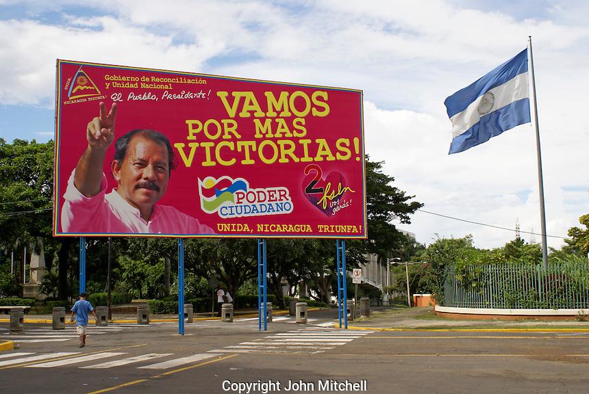 FSLN election billboard showing Sandinista leader Daniel Ortega in downtown Managua, Nicaragua
