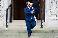 "Pictured: Philip-Lee Kinsey leaving Cardiff Crown Court in Cardiff, Wales, UK. Friday 27 September 2019<br /> Re: A licensee and barmaid who assaulted a suspected thief have been sentenced at Cardiff Crown Court.<br /> Philip-Lee Kinsey, 36, believed the victim had stolen money along with a charity box from the bar of The Lounge in Bridgend. <br /> After persuading the victim to stay with the promise of buying him another drink, the man was then grabbed by two other customers who held him from behind while Kinsey punched him in the face several times and kicked him.<br /> Ria Anthony, 38, worked at the pub and joined in the assault also punching the victim to the face multiple times.<br /> Both pleaded guilty to causing actual bodily harm, the assault taking place on 21 October 2018.<br /> Jeff Mark, of the CPS, said: ""Rather than reporting their concerns to the police, the defendants took the law into their own hands, carrying out a cowardly attack on a person unable to protect themselves.<br /> ""Vigilante violence is not acceptable and those who try to by-pass the proper justice system are likely to find themselves before the Court facing criminal charges."""
