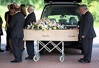 "Pictured: The coffin of Pat Stewart arrives<br /> Re: The funeral of Pat Stewart at the Cardiff and Glamorgan Memorial Park and Crematorium, Wales, UK. Pat Stewart became famous as ""the girl in the spotty dress"" after an iconic image taken by Bert Hardy in Blackpool in 1951."