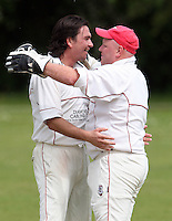 Jamie Went of Hornchurch is congratulated by wicket keeper Paul Murray after getting the wicket of Harold Wood batsman Abdul Rahman - Harold Wood Cricket Club vs Hornchurch Cricket Club at Harold Wood 10/05/09 - MANDATORY CREDIT: Rob Newell/TGSPHOTO - IMAGES USED WILL BE INVOICED AT STANDARD RATES. Gavin Ellis/TGSPHOTO, 27 Plaiters Way, Braintree, Essex CM7 3LR - Tel: 0845 0946026 - BACS details for payment: Gavin Ellis - A/C 31840312 Sort Code 40-17-08. NO UNPAID USE..