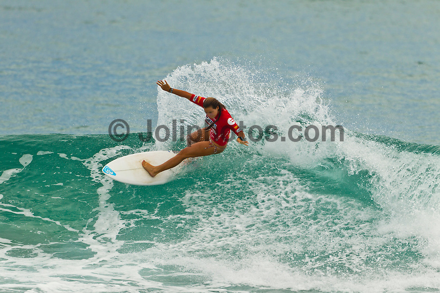 BURLEIGH HEADS, Queensland/Australia (Sunday, 22 January, 2012) Joanne Defay (FRA). – Today saw a slight decrease in swell size at Burleigh Heads for Day 2 of the Billabong World Junior Championships Gold Coast, and the call was made to run Rounds 1 and 2 of the Women's event. The women went for it in the fun 2-3 foot (1 meter) surf, putting on a good show for the hundreds of onlookers lining the Burleigh Headland...Sarah Baum (ZAF) was the talk of the town today after starring in the last heat of Round 1. The young lady from Durban, South Africa used her powerful backhand attack to post the highest heat total of the event thus far - 18.53 (out of a possible 20)..Sarah Mason (New Zealand) was another goofy-footer to put on a dominant Round 1 performance where she scored a massive heat total of 17.96 (out of a possible 20)..Alessa Quizon (HAW) used her sharp backhand attack to post some big scores today and skipped Round 2, advancing directly into Round 3. Quizon defeated Bianca Buitendag (ZAF) and Philippa Anderson (AUS) who finished 2nd and 3rd respectively..The Billabong World Junior Championships  will decide the 2011 ASP Junior World Champions in the men's and women's divisions..Photo: joliphotos.com