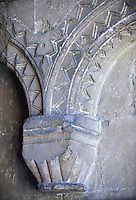 12the century early transitional Norman decorated bling arches from the south porch of the parish church of St Peter & St Paul part of Malmesbury Abbey, Wiltshire, England