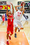 Li Kim Wong #55 of South China Athletic Association Men's Basketball Team (R) tries to score next to Poon Chung Hei #6 of Nam Ching Basketball Team (L) during the Hong Kong Basketball League game between SCAA and Nam Ching at Southorn Stadium on May 4, 2018 in Hong Kong. Photo by Yu Chun Christopher Wong / Power Sport Images