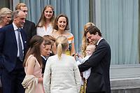 La Reine Paola de Belgique f&ecirc;te son 80e anniversaire avec 74 jours d&rsquo;avance, &agrave; la chapelle musicale reine Elisabeth &agrave; Waterloo, entour&eacute;e de ses enfants et petits enfants et autres membres de la famille royale.<br /> Belgique, Bruxelles, 29 juin 2017.<br /> Queen Paola of Belgium, wife of King Albert of Belgium, celebrates her 80th birthday  with with the entire Belgian Royal family at the Queen Elisabeth Music Chapel in Waterloo, Belgium.<br /> Belgium, Waterloo, 29 June 2017.