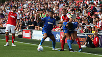 Fleetwood Town's Tommy Spurr battles with Wimbledon's Will Nightingale and Tennai Watson (left) <br /> <br /> Photographer Stephen White/CameraSport<br /> <br /> The EFL Sky Bet League One - Fleetwood Town v AFC Wimbledon - Saturday 4th August 2018 - Highbury Stadium - Fleetwood<br /> <br /> World Copyright &copy; 2018 CameraSport. All rights reserved. 43 Linden Ave. Countesthorpe. Leicester. England. LE8 5PG - Tel: +44 (0) 116 277 4147 - admin@camerasport.com - www.camerasport.com