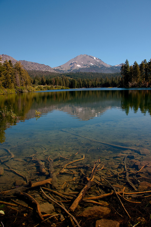 Lassen Peak and Manzanita Lake in the Shasta region of Northern California.Photo copyright Lee Foster.  Photo # california-lassen-park-cashas105316