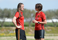 20180303 - LARNACA , CYPRUS :  Belgian physiotherapist Fabienne Van De Steene (r) pictured talking to Belgian Tine De Caigny during a Matchday -2 training from The Belgian Red Flames prior to their game against Austria , on Saturday 3 March 2018 at the Alpha Sports Grounds in Larnaca , Cyprus . This will be the third game in group B for Belgium during the Cyprus Womens Cup , a prestigious women soccer tournament as a preparation on the World Cup 2019 qualification duels. PHOTO SPORTPIX.BE | DAVID CATRY