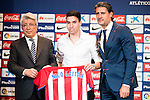 President of Atletico de Madrid, Enrique Cerezo (L), Argentinian football player Nico Gaitan (C) and Jose Luis Perez Caminero (R) during the presentation of the new Atletico de Madrid's football player, Nico Gaitan for the next season 2016-2017 at Vicente Calderon Stadium in Madrid. July 19, Spain. 2016. (ALTERPHOTOS/BorjaB.Hojas)
