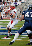 October 15, 2011:  New Mexico quarterback B.R. Holbrook looks to throw over the Nevada defense during their game at Mackay Stadium in Reno, NV.