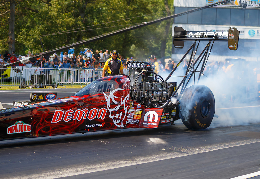 Jun 10, 2017; Englishtown , NJ, USA; NHRA top fuel driver Leah Pritchett during qualifying for the Summernationals at Old Bridge Township Raceway Park. Mandatory Credit: Mark J. Rebilas-USA TODAY Sports