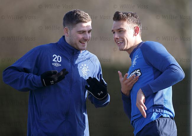 Kyle Hutton and Kal Naismith having a laugh
