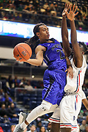 Washington, DC - December 22, 2018: Hampton Pirates guard Kalin Fisher (23) makes a pass during the DC Hoops Fest between Hampton and Howard at  Entertainment and Sports Arena in Washington, DC.   (Photo by Elliott Brown/Media Images International)