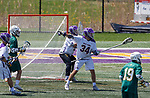 Matt Perla (#34) organizes the defense as UAlbany Lacrosse defeats Vermont 14-4  in the American East Conference Championship game at Casey Stadium, May 5.