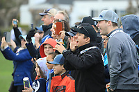 Fans in action at Pebble Beach Golf Links during the third round of the AT&T Pro-Am, Pebble Beach Golf Links, Monterey, USA. 09/02/2019<br /> Picture: Golffile | Phil Inglis<br /> <br /> <br /> All photo usage must carry mandatory copyright credit (© Golffile | Phil Inglis)