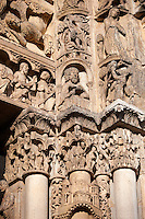 Gothic sculpted illustrated column capitals  from the Cathedral of Chartres, France. . A UNESCO World Heritage Site. .