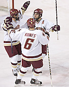 Chris Collins, Tim Kunes and Stephen Gionta celebrate - Boston College defeated Princeton University 5-1 on Saturday, December 31, 2005 at Magness Arena in Denver, Colorado to win the Denver Cup.  It was the first meeting between the two teams since the Hockey East conference began play.