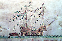 """Visual Arts:  Ship--The """" Henry Grace a Dieu"""", (also called The Great Harry)  launched 1514.  An English  carrack of 800 tons, 136 guns, crew of 900, 8 decks.  Photo '84."""