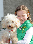 Aoibheann Garry and Florrie pictured at the Drogheda St. Patrick's day parade. Photo: Colin Bell/pressphotos.ie